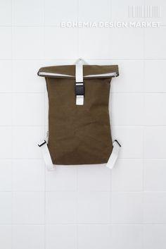 Army Green Backpack #khaki #green #white #eco #vegan #handmade #rollup #backpack #original #local #design #travel #traveler #city #explorer Khaki Green, Army Green, Bohemia Design, Green Backpacks, Creative People, Vegan, The Originals, City, Stuff To Buy