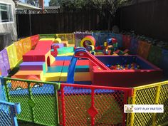 Party Plus package x bigger square ball pit included with optional slide Kids Backyard Playground, Backyard For Kids, Ball Pits, Soft Play Area, Snow White Birthday, Girl Birthday Decorations, Toddler Play, Party Entertainment, Baby Party
