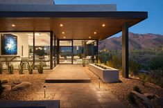 soloway designs inc. have realized a modern, luxury desert home, complete with floor to ceiling window walls and outdoor spa.