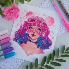 I love your drawings and obviously I was very excited to draw your character for… Amazing Drawings, Beautiful Drawings, Cute Drawings, Cool Drawings Tumblr, Copic Marker Art, Copic Art, Pretty Art, Cute Art, Manga Art