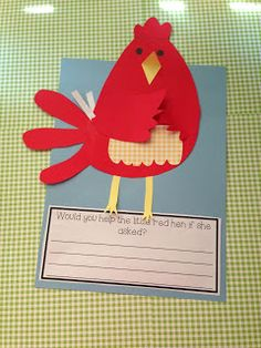 """response to little red hen- direct draw hen-- very cute activity!! ....Follow for Free """"too-neat-not-to-keep"""" teaching tools & other fun stuff :)"""