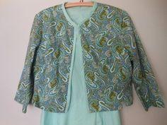 Vintage Sundress Jacket Dress Aqua Paisley Fabric Cotton Size S M at Quilted Nest Aqua Fabric, Paisley Fabric, Paisley Print, Cute Modest Outfits, Jacket Dress, Vintage Shops, Kimono Top, Trending Outfits, Nest