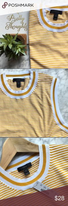 J.Crew•Striped Jackie Shell Gorgeous lightweight knit shell from J. Crew! A cute & classic spring wardrobe staple. New with tags. Runs slightly small. If you're between sizes, order one up. J. Crew Tops Tank Tops