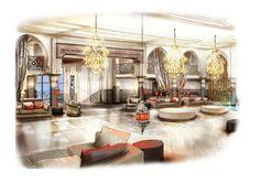 Hall d'entrée d'un hôtel. Illustration/perspective de Stan Morin pour Sybille de Margerie Design. #perspectiviste