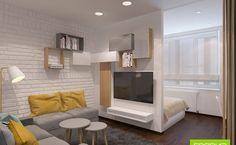 Кухня-гостиная-спальня дизайн фото