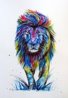 King of the Jungle Lion Wall Art, Lion Art, Watercolor Lion Tattoo, Watercolor Art, Rainbow Lion, Jungle Lion, Lion Wallpaper, New Zealand Art, Paint Drop