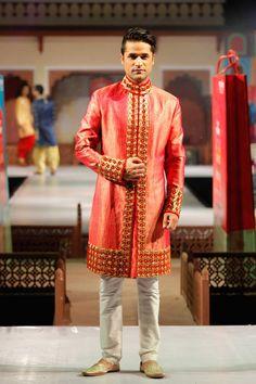 66b7021469 Buy Pink Brocade Silk Embroidered Sherwani By Rohit Kamra online