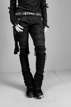 Destroyed black denim #ripped #jeans