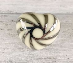 Stainless Steel and White Enamel Heart Ring Never Worn Size 6.25 No Reserve #Statement