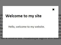 First Visit Popup is tiny jQuery plugin which uses browser cookies to show up a modal popup (e.g. welcome modal) to first-time visitors.