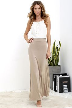 c61806ce034 Stretch of the Imagination Light Brown Maxi Skirt