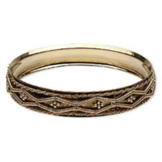 Detailed Rope Design Antiqued Gold Plated Brass Bangle Bracelet