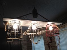 Hand made Rope, Pulley and wire basket light fixture - Find ReJUNKulous on Facebook :)