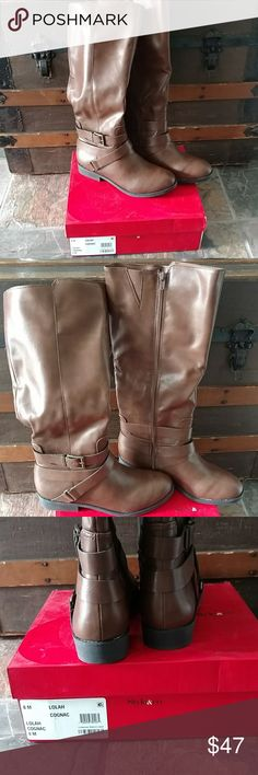 """Style & Co Size 8 Boots NIB New in box size 8 riding style boots. Beautiful cognac color, brass tone hardware and full length zipper. 1"""" heel. Style & Co Shoes Combat & Moto Boots"""