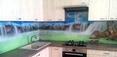 kuchynská zástena zo skla - grafické sklo