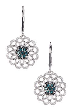 Blue & White Diamond Flower Dangle Earrings - 0.23 ctw by Savvy Cie on @HauteLook
