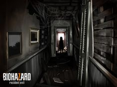 copyright_name dark door eveline hallway highres kuro_kosyou landscape messy painting_(object) resident_evil silhouette solo standing tagme wooden_floor Resident Evil Vii, Resident Evil 7 Biohazard, Survivor Games, Dark Doors, Fandom Games, The Evil Within, Welcome To The Family, Environment Concept Art, Environmental Art