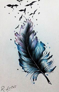 Feather Drawing, Feather Tattoo Design, Watercolor Feather, Feather Painting, Feather Art, Feather Tattoos, Body Art Tattoos, Watercolor Paintings, Tattoo Art