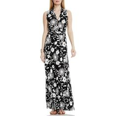 Petite Vince Camuto Print Halter Style Maxi Dress ($119) ❤ liked on Polyvore featuring dresses, petite, rich black, halter top, halter dress, floral maxi dress, ruched maxi dress and vince camuto dresses