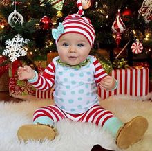 Baby Christmas Clothes Newborn Infant Baby Boy Girl Striped Top + Pants And Hat Outfit Set Child Winter Warm Clothes(China (Mainland))