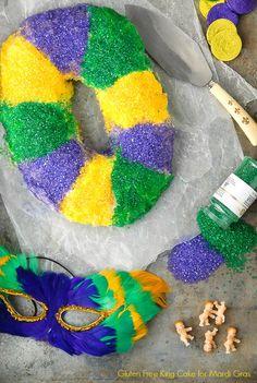 Mardi Gras King Cake (gluten-free). Filled with cream cheese and cinnamon-sugar in traditional Mardi Gras style. BoulderLocavore.com
