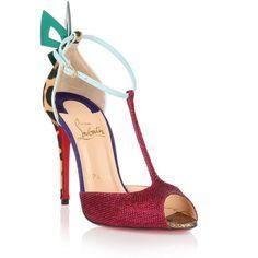 Christian Louboutin Aribak 100 Cerise Glitter Sandal ($860) ❤ liked on Polyvore featuring shoes, sandals, christian louboutin shoes, leopard print shoes, leather ankle strap sandals, christian louboutin and leopard shoes