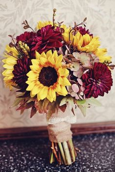 Rustic Shabby Chic Burgundy Green Yellow Blossoming Branches Bouquet Dahlia Hydrangea Sunflower Wedding Flowers Photos & Pictures - WeddingWire.com
