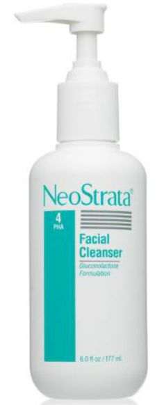 NeoStrata Facial Cleanser  Start your skin care regimen with a soap-free, hypoallergenic facial cleanser that gently exfoliates without drying the skin.  Polyhydroxy Acid Gluconolactone provides anti-aging benefits Removes impurities and makeup without drying the skin Ideal for all skin types, including sensitive and acne-prone. http://www.neostrata.com/