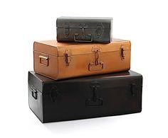 Set de 3 maletas en metal,con acabado antiguo; 89€