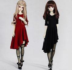 Moda Negro Oblique Hem Falda Vestido de Niña Para BJD 1/6 YOSD, 1/4, 1/3, SD16 IP, SID, EID LUTS. DOD. AS. Ropa de Muñecas SD CWB1