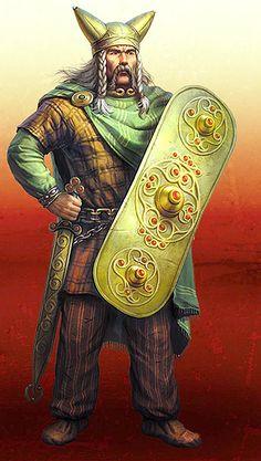 Celtic Warrior of Alesia horned helm shield master Gaul Warrior, Viking Warrior, Ancient Rome, Ancient History, Guerrero Tribal, Celtic Druids, Hallstatt, Tribal Warrior, Celtic Warriors