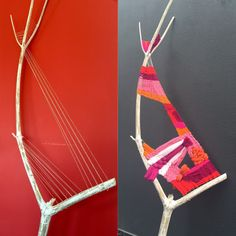 "2 meters high, strange format and asymmetric branches, require strange solutions 💗❤️💗❤️💗❤️ I guess I spent a long time looking at it and thinking: ""how the hell am I going to warp you…?"" Source by cherticovseva Weaving Projects, Weaving Art, Tapestry Weaving, Loom Weaving, Textile Fiber Art, Textile Artists, Meneses, Diy And Crafts, Arts And Crafts"