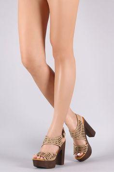 fc7da00ce395 Bamboo Leather Cutout Ankle Strap Platform Chunky Heel Chunky Heels