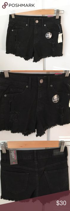 Black High Waisted Shorty Black high waisted denim cutoff shorts. Distressed holes and details in the front. Super cute and comfy. Closet staple! Bundle with other shorts in my closet for a discount! Reasonable offers accepted using offer button 😊  Measurements: Condition: Brand new, never worn  🚫Trades  Please ask any questions prior to purchasing. All sales final. Aeropostale Shorts Jean Shorts
