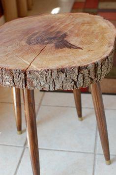 Wood Stump Side Table Large Tree Slice Mid by sumsouthernsunshine