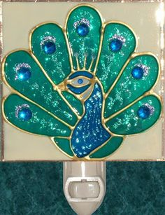 Peacock Night Light Hand Painted Nightlight Wall Art Stained Glass Kitchen, Bedroom and Peacock Bathroom Decor Stained Glass Night Lights, Stained Glass Birds, Stained Glass Projects, Stained Glass Patterns, Fused Glass, Peacock Bathroom, Multi Colored Eyes, Peacock Decor, Peacock Crafts