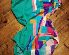 Vintage jaren 90 badpak vintage badmode kleur blok jaren 90 vintage strapless