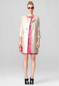 COCKTAIL COAT by Milly | metallic coat | buttons | pockets | fall coat