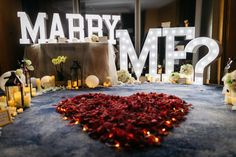 Cute Proposal Ideas, Perfect Proposal, Romantic Room Surprise, Marriage Proposals, Decorate Your Room, Wedding Goals, Flower Frame, Marry Me, Rose Petals