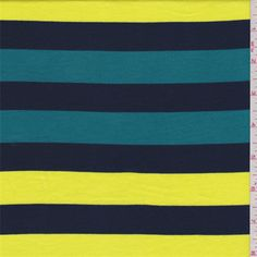 Bright yellow, navy and teal greenhorizontal stripe. This lightweight cotton knit fabric is lightweight and has a soft hand.Compare to $12.00/yd