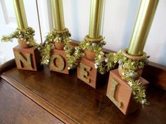 Wood Christmas Candle Holder / Gold Wood by QuailHollowCreations