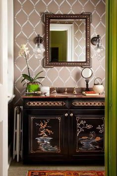 Our Ribbon Lattice wall stencil looks abFAB in this Showcase House powder room by @Hannah Dee interiors