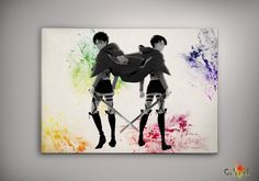 Watercolor Attack on Titan - Eren and Levi Print 8x10 11x16 Archival Print - Art Print - Wall Decor Art Poster- Anime Print - Manga -Cartoon on Etsy, 62,02 zł