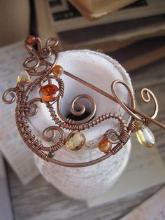 Crescent Moon Brooch - Nature Inspired - Copper Wire Shawl Pin - Orange  autumn color - Ornate  Whimsical Shawl pin - Fibula - Crochet  Scaf. $34.00, via Etsy.