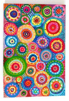 Pittura astratta cerchi / originale astratto acrilico di tushtush
