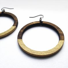 Wood Gold Hoop Earrings - Laser Cut Jewelry, Minimalist Jewelry, Wood Hoop…