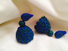 Handmade polymer clay jhumka/ jhumki earrings by Vibgyour on Etsy
