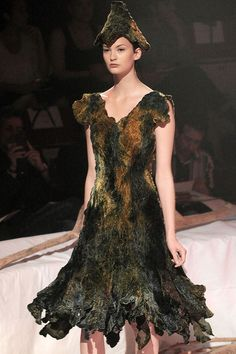 Frank Sorbier Fall 2011. Dull colours, but give me some silk and this would be a fab way to use up my needlefelting remnants
