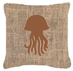 Jellyfish Burlap Indoor/Outdoor Throw Pillow