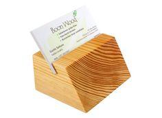 Natural Pine Wood Business Card Holder For Office  | KlikKlakBlocks - Woodworking on ArtFire